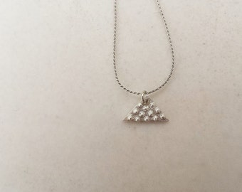 Geometric minimal Sterling silver 925 necklace tiny triangle pendant with dots unique