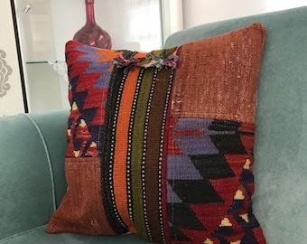 18x18 inch, Decorative Pillows, Turkish Kilim Pillow, Home Decor, Vintage Decor, Kilim Pillow Cover, Designer Pillow, Motif Pillow