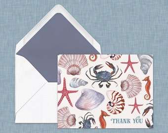 Beach Print Thank You Card // Watercolor Card with seashells, crab, starfish, seahorse
