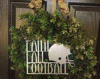 Faith Fall and Football Wreath Ornament | Customize with Your Team's Colors | Wreath Not Included |