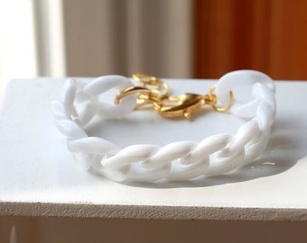 WHITE/ GOLD- Chunky Large Chain Link Bracelet - GOLD Accents
