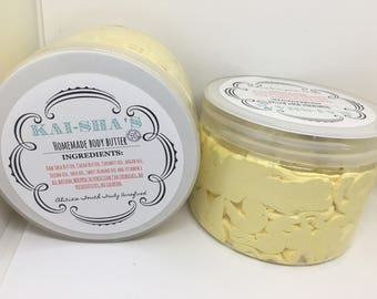 Homemade unrefined whipped shea and cocoa butter body butter 12oz