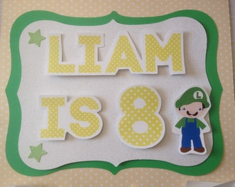 Nintendo Super Mario Personalized Party Sign