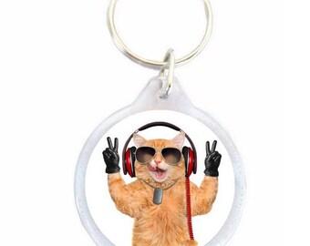 DJ cat Keychain - Keychain