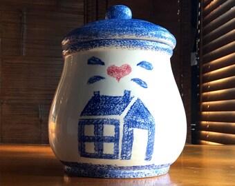Vintage Blue Country Home Cookie Jar, Blue Home, Country Home,  Cookie Jar, Kitchen Decor, Cookie Jar, White Cookie Jar, Folk Art, Cookies