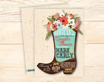 PRINTABLE Cowboy boots couples shower invitation, Digital Download, Cowboy boot invitation