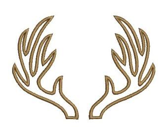Antlers Embroidery Applique Design Antler Machine Deer Embroidery Instant Download ER1024E1