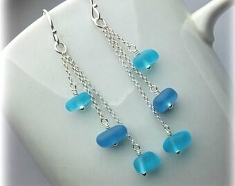 Blue sea glass earrings sterling silver drop earrings Mothers Day gift Outdoor Sea glass jewelry Green aqua sea glass Long dangle earrings