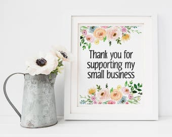 Small Business Sign - Market Display Sign - Thank You For Supporting My Small Business - Craft Market Sign - Shop Small - Market Sign