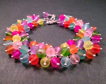 Silver Wire Wrapped Cha Cha Bracelet, Fruit Salad, Colorful Frosted Glass Beaded Bracelet, FREE Shipping U.S.
