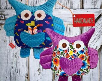 Pillow owl, Plush owl + Free Small Owl Handmade, LARGE Cushion, mascot owl, owl mascot