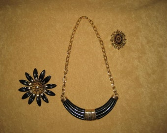 Black & Gold Jewelry Brooch Pin Necklace Vintage