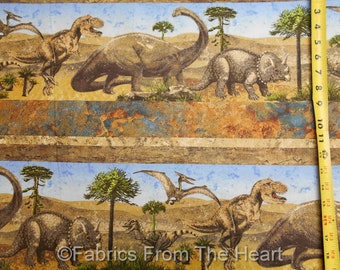Stonehenge Dinosaurs Prehistoric Dinos Jungle 4X Border BY YARD Northcott Fabric