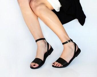 Leather Sandals, Greek sandals, Sandals, Leather shoes women, Leather sandals women, Black leather sandals , NAFSIKA
