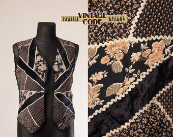 Dark Blue Patchwork Rick Rack vest waistcoat / Velvet Hippie Boho Folk vest bu Rene Dhery /  Festival clothing /  extra large plus size