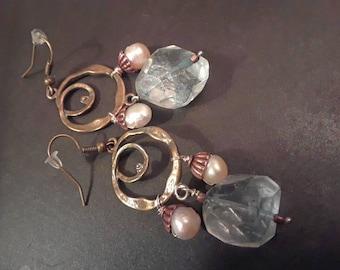 Blue Quartz, brass, and freshwater pearl earrings