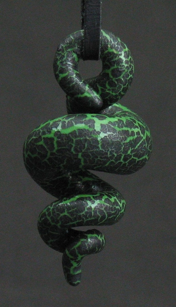 squiggly organic swirl bright green and black crackle ceramic pendant