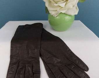 Kay Fuchs Dark Brown Leather Gloves Medium to Large