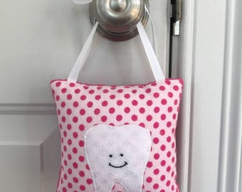 Tooth Fairy Pillow - Hot Pink Polka Dots Tooth Fairy Pillow with Tooth Pocket - Ready to Ship