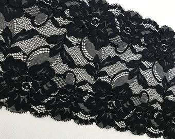 Vintage Style Black Stretch Lace Trim,Scalloped Double Edge Lace, Embroidered Floral Lace Trim,Lingerie Trim Fabric