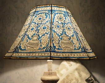 Mandala Pot Lamp Shade Large   Sea-Blue Hand Painted Leather Lampshade   Unique Patter Floor Lampshade - 8 Faced Shade - H-9.5, W-16 inches
