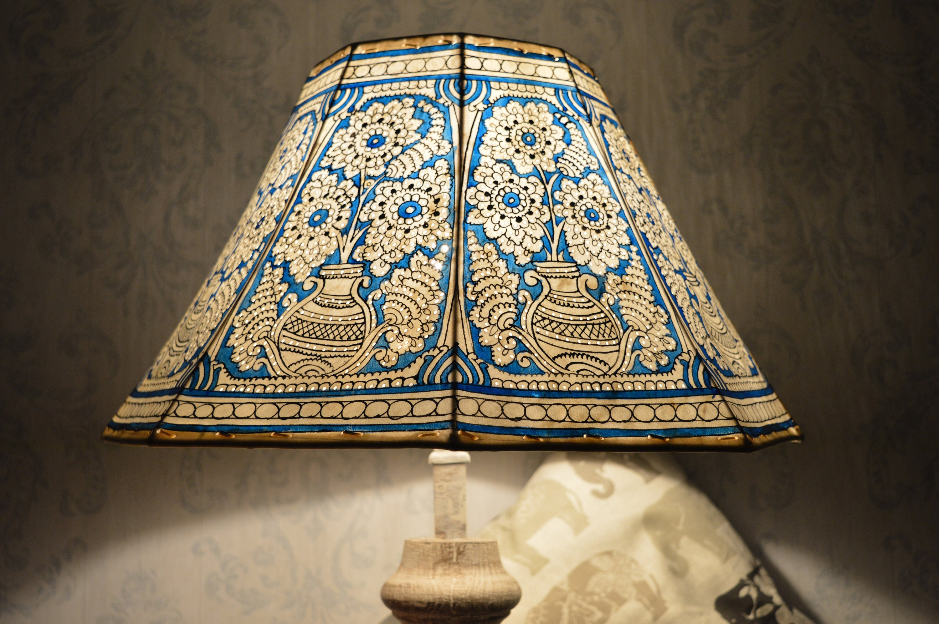 leather indian ekrafts initiative decors home sustainability lamp roung for nabard shade artisan round india big shades