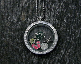 Beach Locket Necklace  /  Floating Locket  /  Memory Locket  / Hand Stamped Jewelry