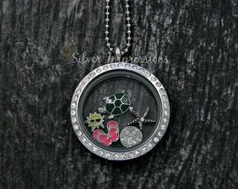 Beach Locket Necklace  /  Floating Locket  /  Memory Locket  / Hand Stamped Jewelry