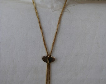 Golden Hearts with Dangle Tears - vintage necklace