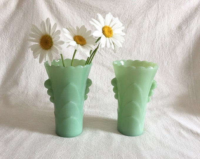 Featured listing image: Vintage Jadeite Art Deco Vases