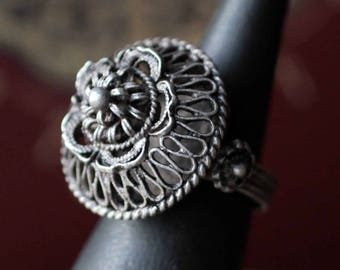Vintage Balkan filigree Silver Ottoman ring - early-middle 20th century - size 6