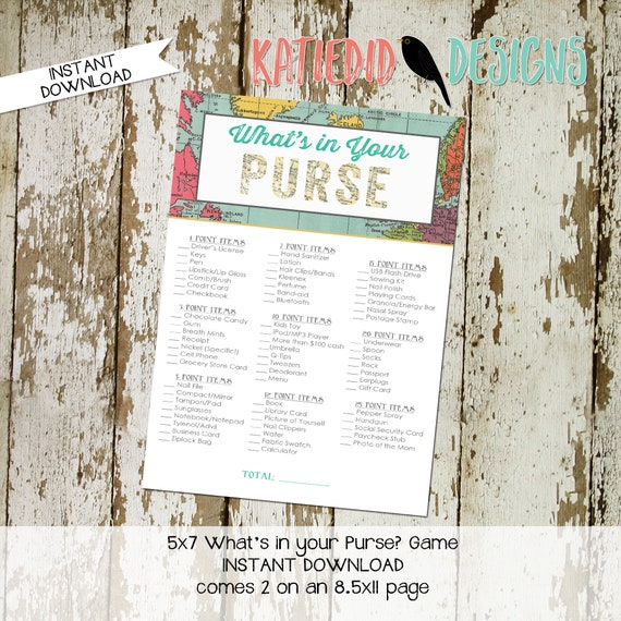 Adventure Awaits oh the places youll go gender reveal party game What's in your purse baby shower Travel Theme boy world map   1294 Katiedid
