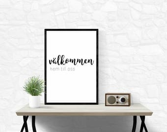 Välkommen,Svenska,Swedish,Printable,Download,Modern,Wall Decor,Minimalist