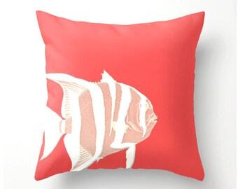 Coral and White Fish decorative throw pillow - beach nautical decor - home decor - beach cottage accent cushion, coastal decor