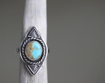 Stamped Turquoise Sunburst Ring - Size 6 1/2- Turquoise Statement Ring - Artisan Ring