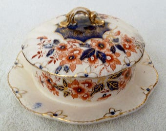An Antique Imari Muffin Dish / Warmer With Lid