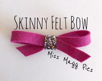 Mulberry · Skinny Felt Hair Bow / Baby Hair Bow / Toddler Hair Clip / Hair Accessory / Newborn Photo Prop / Gift for Baby Girl / Hair Piece