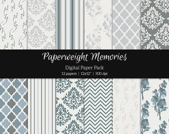 Vintage Blue - digital patterned paper - Instant Download -  digital scrapbooking - patterned paper - Commercial use