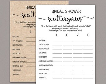 Bridal Shower Scattergories Game, scattergories bridal shower game, country, Rustic Bridal Shower Game, Kraft Wedding Games Printable B11
