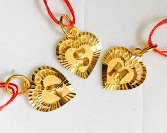 22k solid gold heart alphabet pendant  916 Gold