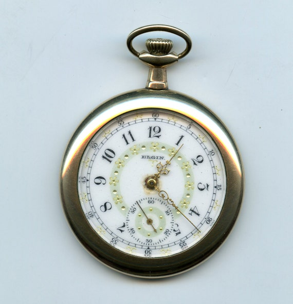 FREE SHIPPING-Antique-1900-Elgin-Fancy Dial-Pocket Watch-Size 12-7 Jewels-Gold-Filled-Gilded-Multi Colored-Open Case-Runs