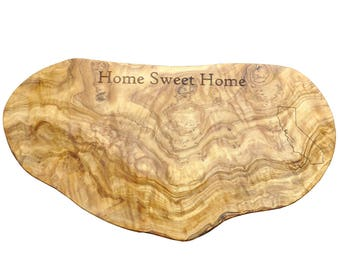 Personalized Olive Wood Cutting Board - State Outline - Home Sweet Home