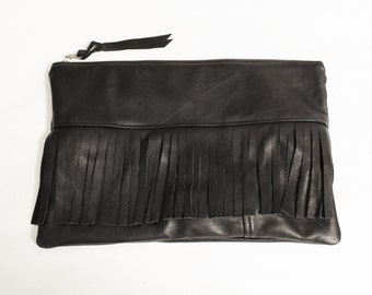 Repurposed Black Leather Fringe Clutch Bag