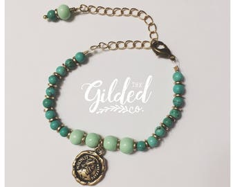 Tulah Bracelet(s) — mermaid native ocean, turquoise, howlite, brass, gold, Czech glass, wrist, arm party, boho layering nashville gypsy