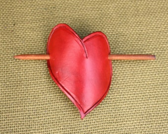 Beautiful Hand Tooled Red Leather Heart Barrette/Hair Clip/Hair Slide