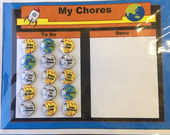 SALE! Space-themed Chore Chart w/ Magnets