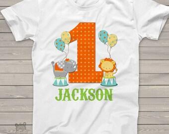 circus 1st birthday shirt - circus elephant lion theme birthday party shirt MBD-017
