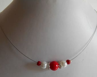 Bridal rhinestone and passion red and white beads