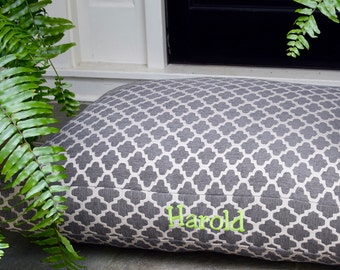 Quatrefoil Grey Dog Bed - Personalized Medium Large Chenille Geometric Custom Pillow Cover by Three Spoiled Dogs