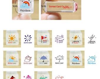 10% OFF Weather stamp set-- Korean Crystal Schedule Stamp-- Rubber Stamps--Deco stamp--8pcs per set
